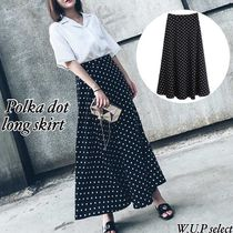 Dots Casual Style Medium Midi Skirts