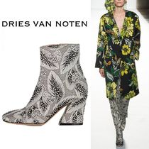 Dries Van Noten Flower Patterns Elegant Style Chunky Heels