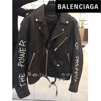 BALENCIAGA Short Monoglam Street Style Plain Leather Biker Jackets