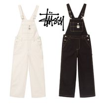 STUSSY Dungarees Casual Style Street Style Plain Cotton Dresses