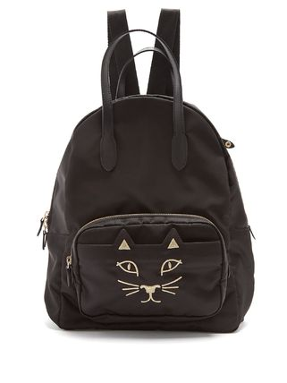 Purrrfect feline nylon backpack black