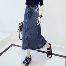 Pencil Skirts Casual Style Denim Street Style Plain Long