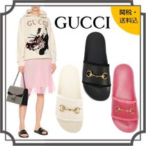 GUCCI Open Toe Rubber Sole Casual Style Unisex Blended Fabrics