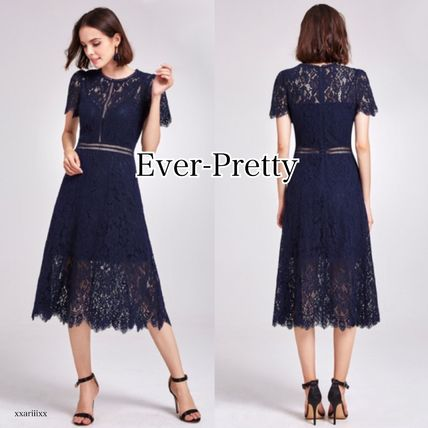 A-line Medium Short Sleeves Lace Dresses