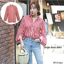Stripes Casual Style Long Sleeves Medium Oversized