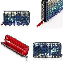 Christian Louboutin Panettone  Stripes Unisex Studded Leather Long Wallets