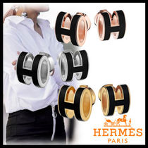 HERMES Plain Earrings