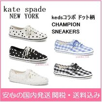 kate spade new york Gingham Dots Round Toe Rubber Sole Casual Style