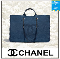 CHANEL Casual Style Canvas A4 Plain Totes