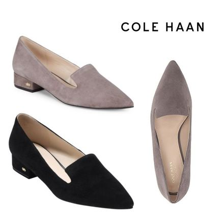 Suede Plain Block Heels Ballet Shoes