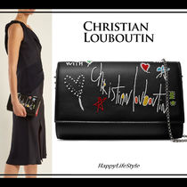 Christian Louboutin Paloma Heart Star 2WAY Chain Leather Party Style Clutches