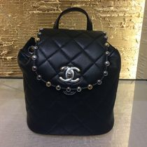 CHANEL Black Lambskin Metallic Bubble Backpack