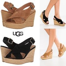 UGG Australia Open Toe Suede Plain Platform & Wedge Sandals