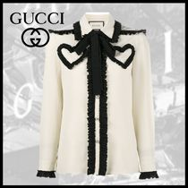 GUCCI Bi-color Long Sleeves Medium Elegant Style Shirts & Blouses