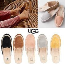 UGG Australia Plain Toe Rubber Sole Casual Style Sheepskin Blended Fabrics