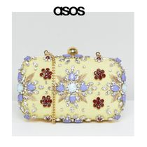 ASOS Flower Patterns Chain Party Style With Jewels Clutches