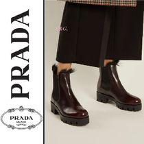 PRADA Round Toe Casual Style Plain Leather Ankle & Booties Boots