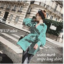 Stripes Casual Style Long Sleeves Long Oversized