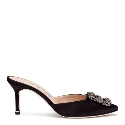 80e50815ef3d ... Manolo Blahnik Heeled Blended Fabrics Plain Pin Heels With Jewels  Elegant Style 2 ...