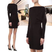 Alexander Wang Short Wool Boat Neck Long Sleeves Plain Party Style Dresses