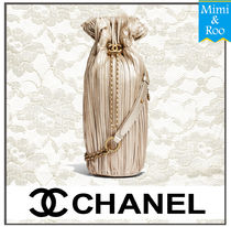 CHANEL Calfskin Plain Party Style Purses Backpacks