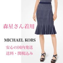Michael Kors Stripes Plain Medium Party Style Midi Skirts
