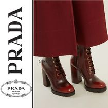 PRADA Casual Style Plain Leather Block Heels Ankle & Booties Boots
