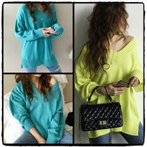 NANING9 V-Neck Long Sleeves Plain Medium Oversized Elegant Style