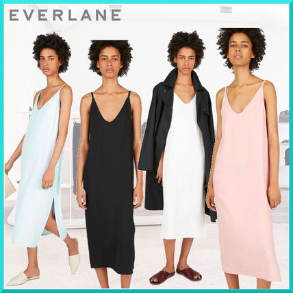 Casual Style Sleeveless Plain Long Dresses