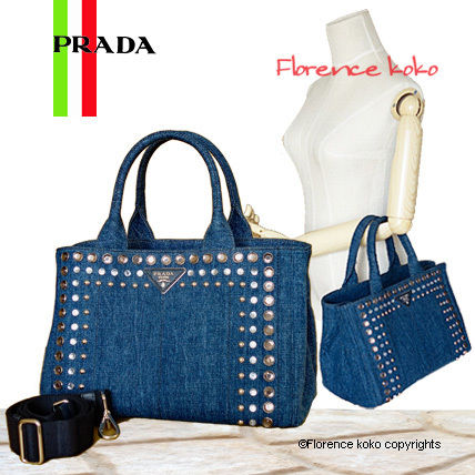 Baltico Navy Bijou Studded Denim Tote Bag