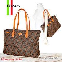 PRADA Brown&Orange Quilted Nylon/Saffiano Leather Shopper Tote Bag