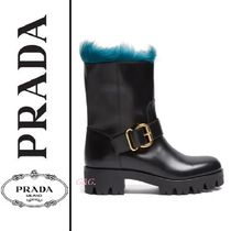 PRADA Casual Style Plain Leather Ankle & Booties Boots