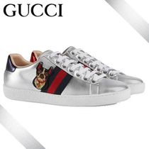 GUCCI Round Toe Rubber Sole Lace-up Casual Style