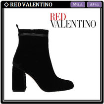 RED VALENTINO Round Toe Velvet Elegant Style Ankle & Booties Boots