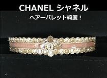 CHANEL Barettes Brass With Jewels Elegant Style Clips