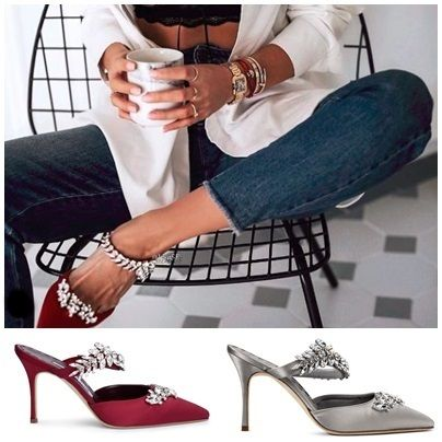 7039b4853dec ... Manolo Blahnik Heeled Blended Fabrics Plain Pin Heels With Jewels  Elegant Style ...