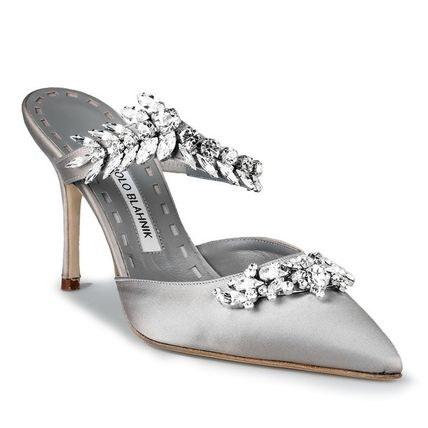 a7e8a7d0766b ... Manolo Blahnik Heeled Blended Fabrics Plain Pin Heels With Jewels  Elegant Style 3 ...