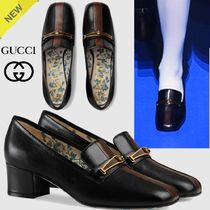 GUCCI Square Toe Bi-color Plain Leather Elegant Style Chunky Heels