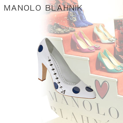 Dots Plain Toe Casual Style Leather Block Heels