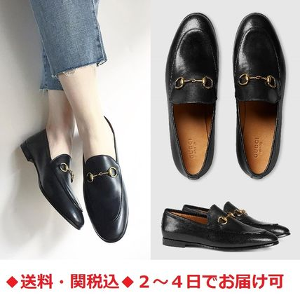 Plain Toe Plain Leather Elegant Style Loafer Pumps & Mules