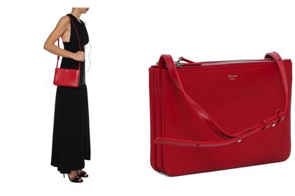 Red Smooth Lambskin Small Trio Shoulder Bag