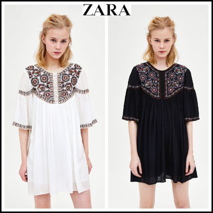 Crew Neck Short Casual Style Short Sleeves Dresses