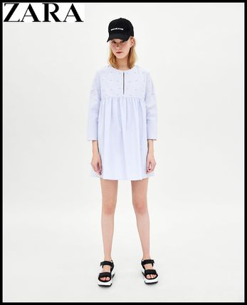 Short Casual Style Cropped Cotton Dresses