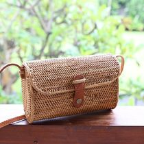 Casual Style Plain Leather Straw Bags