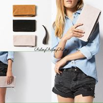 STATUS ANXIETY Suede 2WAY Plain Elegant Style Clutches