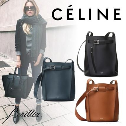Casual Style Calfskin Plain Shoulder Bags