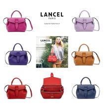LANCEL Plain Leather Elegant Style Shoulder Bags