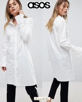 ASOS Casual Style Long Sleeves Plain Cotton Long Shirts & Blouses