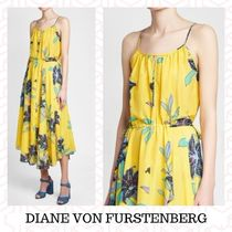 DIANE von FURSTENBERG Flower Patterns Maxi Cotton Long Dresses