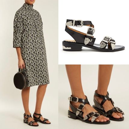 Open Toe Casual Style Plain Leather Sandals Sandals